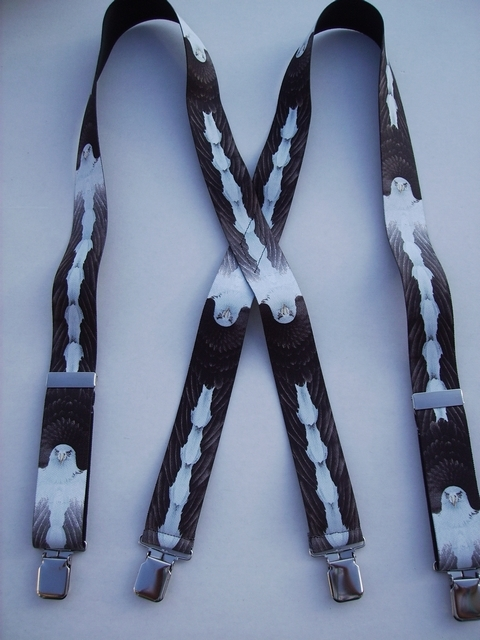 "EAGLE 1 1/2""X48"" Suspenders with 4 strong 1""x 1"" Grips and 2 Length Adjusters in the front, all in Stainless Steel FINISH.  Entirely Stretchable Hand Washable and Hang to Dry Cotton/Polyester Material.            UB220N48WLEG"