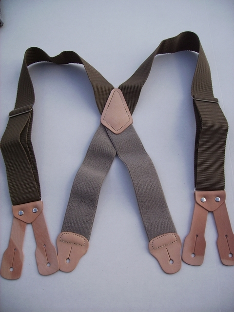 BUTTON ON CONSTRUCTION BASICS KHAKI (BEIGE/TAN)  Suspenders 2 inches wide and 48 long. Non-Elastic except for the Two Strong Elastic Straps between the X and the Strong Leather Attachments. YA150N48KHAK
