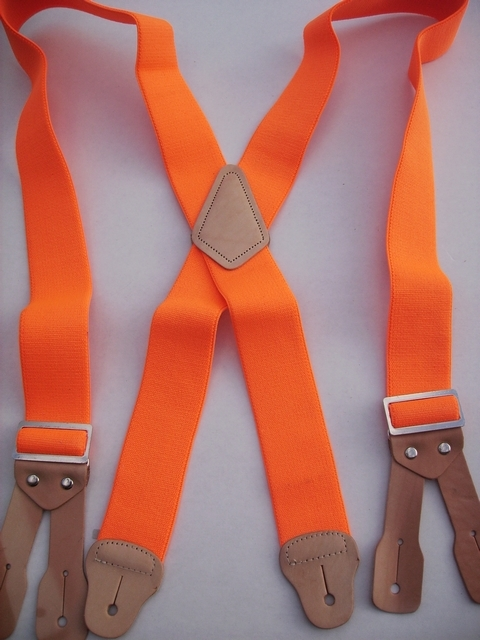 BUTTON ON CONSTRUCTION BASICS MEDIUM ORANGE 2 inches wide and 48 inches. Non elastic except Industrial Strength below X pattern on back two Strong Leather Attachments.   YA150N48FORA