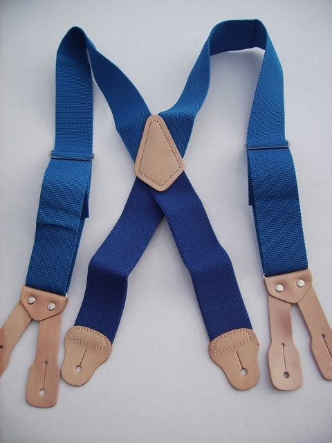 BUTTON ON CONSTRUCTION BASICS ROYAL BLUE Suspenders 2 inches wide and 48 inches long. Non-Elastic except for the Two Strong Elastic Straps between the X and the Strong Leather Attachments.   YA150N48ROYA