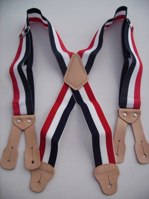BUTTON ON CONSTRUCTION BASICS RED,WHITE, DARK BLUE Suspenders 2 inches wide and 48 inches long, Non-Elastic except for the Two Strong Elastic Straps between the X and the Strong Leather Attachments.   YA150N48RWN