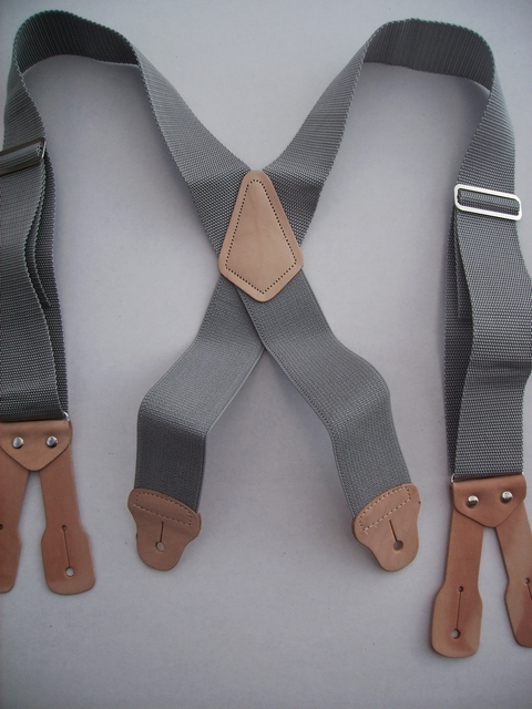 BUTTON ON CONSTRUCTION BASICS MEDIUM GREY Suspenders 2 inches wide and 48 inches long, Non-Elastic except for the Two Strong Elastic Straps between the X and the Strong Leather Attachments.   YA150N48MGRE