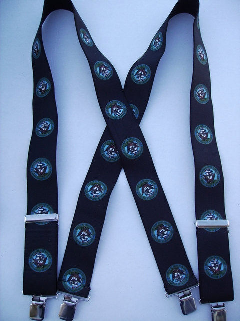 "NAVY 2""X48"" Multi color on Black  Suspenders with 4 strong 1""X1"" Grips and 2 Length Adjusters in the front, all in STAINLESS STEEL. Hand Wash and Hang to Dry.          UA220N48NABK"