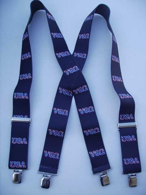 """USA NAVY COLOR   2""""X48""""   Suspenders with 4 strong 1""""X1"""" Grips and 2 Length Adjusters in the front, all in STAINLESS STEEL FINISH. UA220N48USNA"""