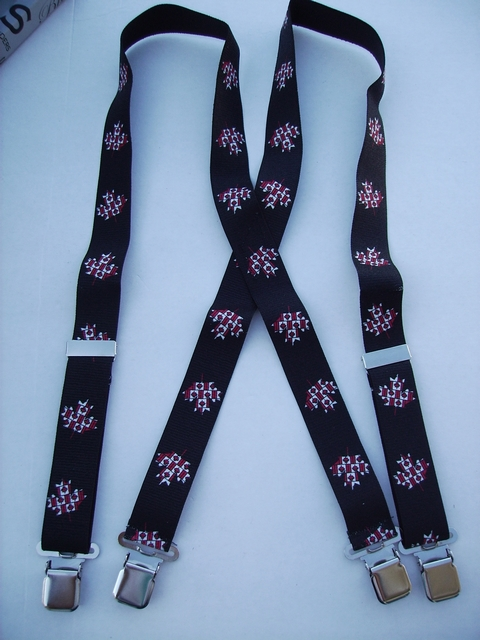 "CANADA 1 1/2""X48"" Suspenders with 4 strong 1""x 1"" Grips and 2 Length Adjusters in the front, all in Stainless Steel. Entirely Stretchable Hand Washable and Hang to Dry Cotton/Polyester Material.           UB220N48CN#2"