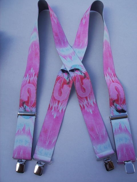 "WIILDLIFE FLAMINGO  1 1/2""X54"" Suspenders with 4 strong 1""x 1"" Grips and 2 Length Adjusters in the front, all in Stainless Steel FINISH.  Entirely Stretchable Hand Washable and Hang to Dry Cotton/Polyester Material.             UB220N54WLFL"