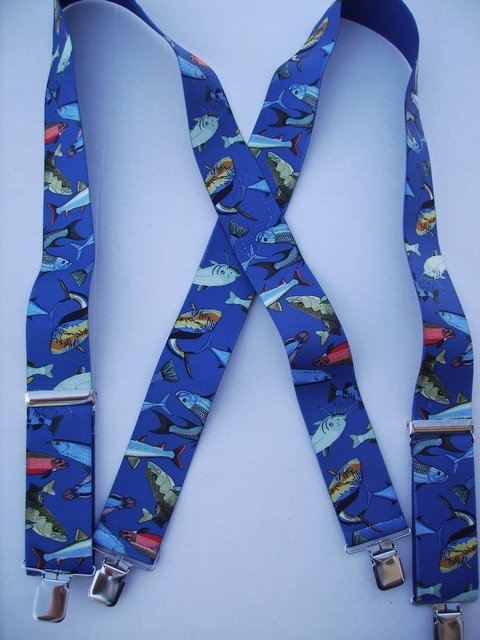 """MIXED FISH 1 1/2""""X54"""" Suspenders with 4 strong 1""""x 1"""" Stainless Steel Grips and 2 Secure Stainless Steel Length Adjusters in the front.   Entirely Stretchable Hand Washable and Hang to Dry Cotton/Polyester Material.          UB220N54MXFI"""