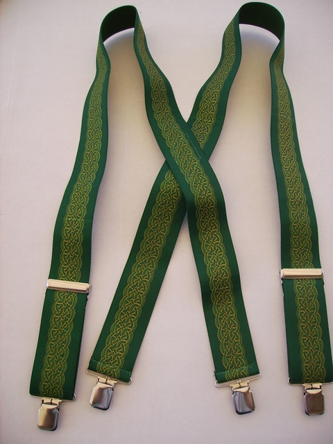 "Celtic Green 2"" Wide ""X"" Style in Assorted Sizes. All Straps are stretchable Cotton/Polyester Hand Washable-Hang to Dry Material. Has 4 strong 1""X1"" Stainless Steel Grips and 2 Strong Stainless Steel Length Adjusters in the front.UA220N-CEGN"