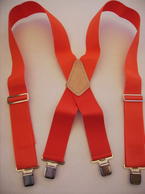 ORANGE (MEDIUM COLOR)  CONSTRUCTION BASICS  Suspenders 2 inches wide and 48 inches long. Non-Elastic except for the Two Strong Elastic Straps between the X and the Strong Clips. YA450N48ORAN