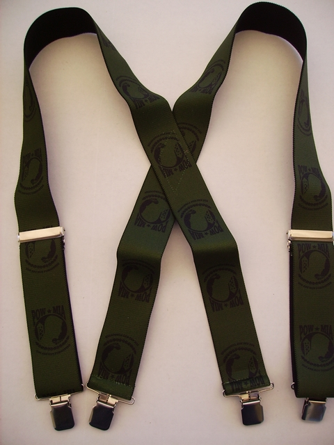 "PRISONER OF WAR  2""X48"" Black on Olive color  Suspenders with 4 strong 1""X1"" Grips and 2 Length Adjusters in the front, all in STAINLESS STEEL. Hand Wash and Hang to Dry.          UA220N48PWOD"
