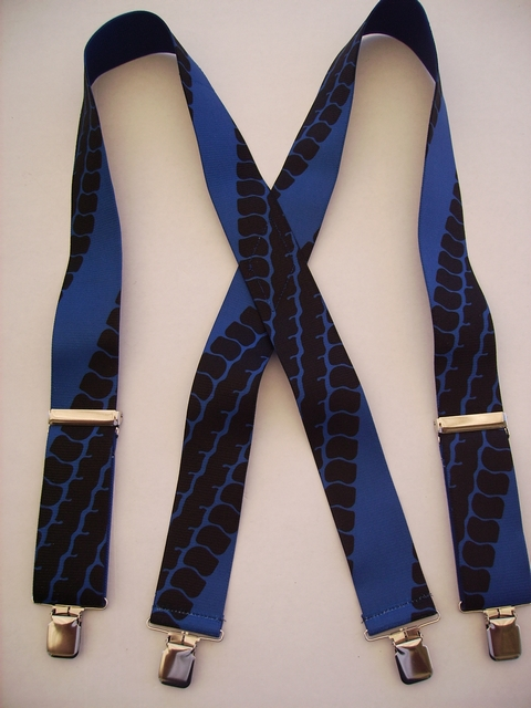 "TIRE TREAD ROYAL BLUE 2""X48"" Suspenders with 4 strong 1""x 1"" Grips and 2 Length Adjusters in the front, all in NICKEL FINISH.   Entirely Stretchable Cotton/Polyester Material.            UA220N48TTRO"