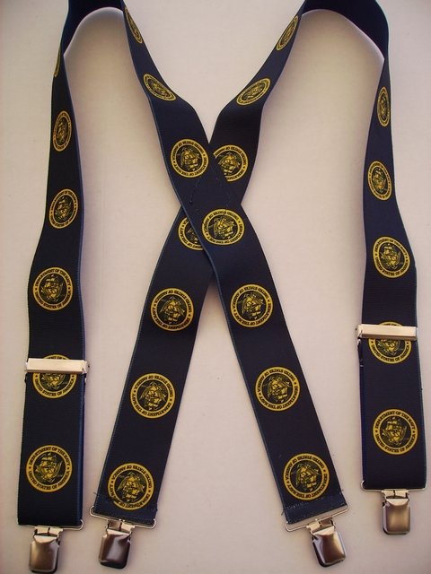 "NAVY 2""X48"" Gold color on Navy Blue  Suspenders with 4 strong 1""X1"" Grips and 2 Length Adjusters in the front, all in STAINLESS STEEL. Hand Wash and Hang to Dry.         UA220N48NANG"