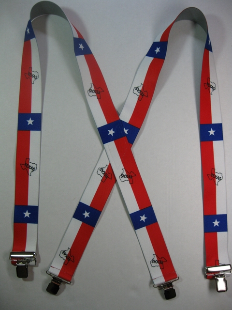 "TEXAS WESTERN 1 1/2""X48"" Suspenders with 4 strong 1""x 1"" Grips and 2 Length Adjusters in the front, all in Stainless Steel. Entirely Stretchable Hand Washable and Hang to Dry Cotton/Polyester Material.          UB220N48TX#1"