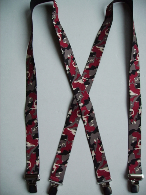 "CAMOUFLAGE 1 1/2"" X 48"" SUSPENDERS With 2 Strong Chrome Adjusters And 4 Grips.  UB220N48SCRE"