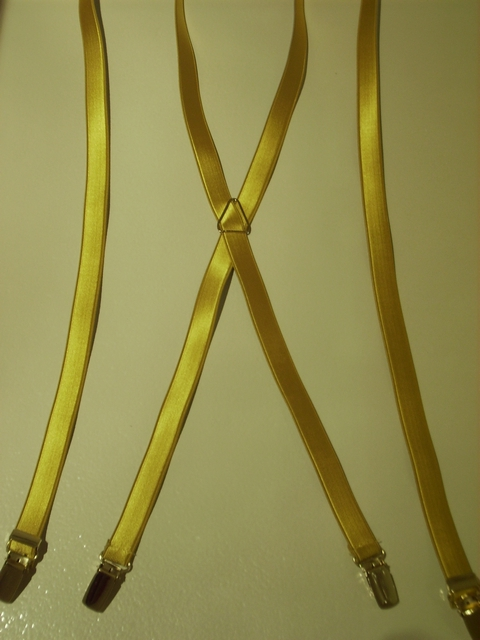 "GOLD  COLOR ""X"" STYLE 3/4""X 48"" FRENCH SATIN FINISHSUSPENDERS WITH STRONG GOLD GRIPS AND ADJUSTERS. SD760B48GOLDg"