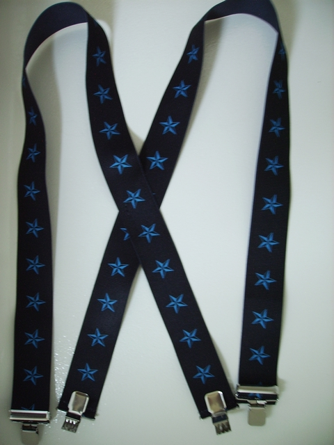 "BLUE STARS ON BLACK 2""x48""  Suspenders with 4 strong 1""X1"" Grips and 2 Length Adjusters in the front, all in NICKEL FINISH.  UA220N48NSKB"