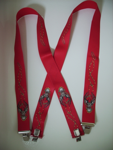 "CHRISTMAS RED REINDEER  1 1/2""X48"" Suspenders with 4 strong 1""x 1"" Grips and 2 Length Adjusters in the front, all in NICKEL FINISH.   Entirely Stretchable Cotton/Polyester Material.         UB220N48WLD2"