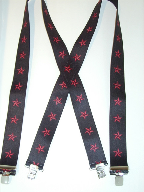 "RED STARS ON BLACK BACKGROUND 1 1/2""x 48""  Suspenders with 4 strong 1""X1"" Grips and 2 Length Adjusters in the front, all in NICKEL FINISH.   Entirely Stretchable Cotton/Polyester Material.         UB220N48NSKR"