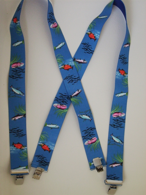 """Assorted SALMON1 1/2""""X48"""" Suspenders with 4 strong 1""""x 1"""" Stainless Steel Grips and 2 Secure Stainless Steel Length Adjusters in the front.   Entirely Stretchable Hand Washable and Hang to Dry Cotton/Polyester Material.         UB220N48SALM"""