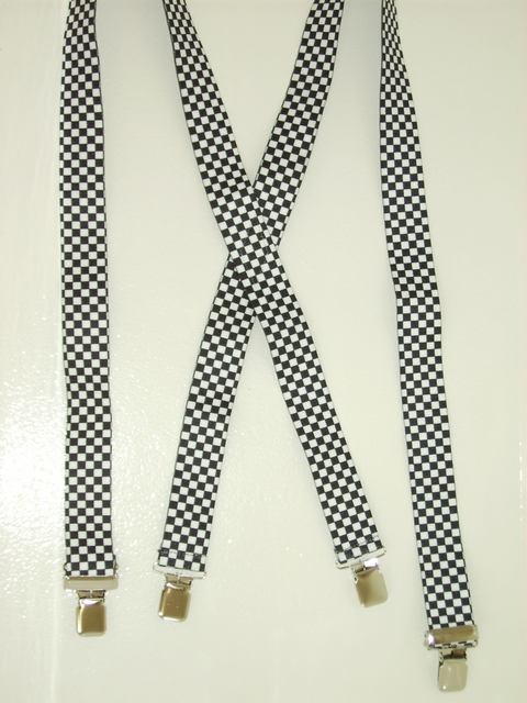 "CHECKERS BLACK AND WHITE 1 1/2""X48""  Suspenders with 4 strong 1""x 1"" Stainless Steel Grips and 2 Secure Stainless Steel Length Adjusters in the front. Entirely Stretchable Hand Washable and Hang to Dry Cotton/Polyester Material.      UB220N48CHEC"