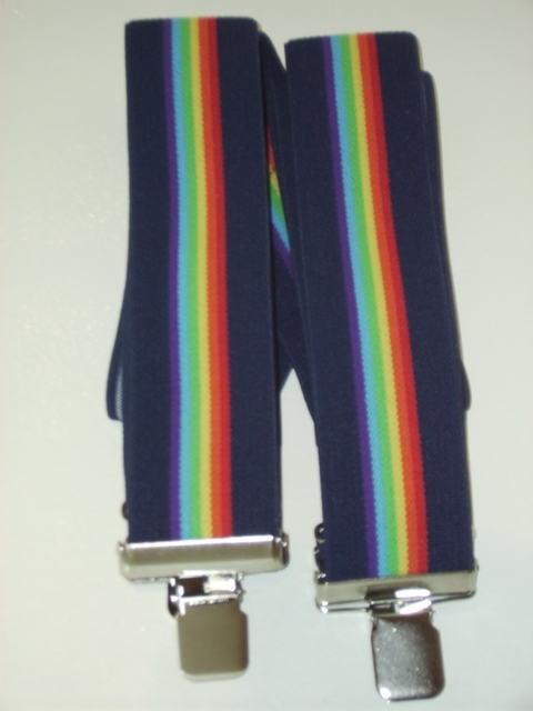 "MULTI-COLOR STRIPES 1 1/2""X48"" BLACK, ORANGE, YELLOW, GREEN, LT.BLUE, PURPLE, BLACK   Suspenders with 4 strong 1""X1"" Grips and 2 Length Adjusters in the front, all in Stainless Steel.     . Entirely Stretchable Cotton/Polyester Suspenders             UB220N48BLRA"