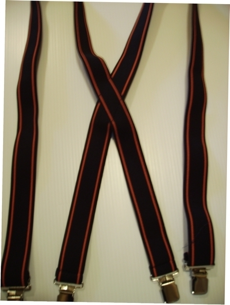 """HARLEY COLORS 1 1/2""""X48"""" Suspenders with 4 strong 1""""x 1"""" Grips and 2 Length Adjusters in the front, all in NICKEL FINISH.   Entirely Stretchable Cotton/Polyester Material. Entirely Stretchable Cotton/Polyester hand washable, hang to dry suspenders.               Entirely Stretchable Cotton/Polyester hand washable, hang to dry suspenders.               TB220N48BLOR"""