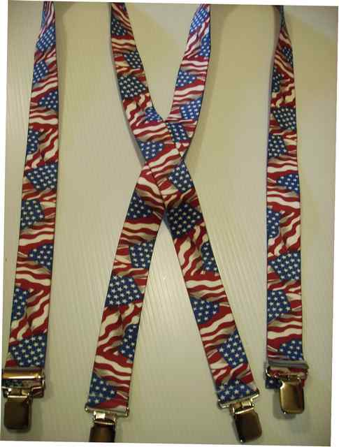 "WAVING FLAG  1 1/2"" wide in 42"" to 60 Suspenders with 4 strong 1""X1"" Grips and 2 Length Adjusters in the front, all in Stainless Steel.        X-UB220N-US#1"