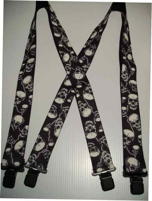 "SKULLS WITH LIGHTNING BOLTS 2"" Wide. Assorted Sizes. 42""-54""    Suspenders with 4 strong 1""x 1"" Stainless Steel Grips and 2 Stainless Steel Length Adjusters in the front.   Entirely Stretchable Cotton/Polyester Material.            UA250N-LIGH"