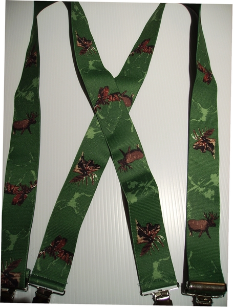 "MOOSE on Hunter Green.   2""X48""  Suspenders with 4 strong 1""x 1"" Stainless Steel Grips and 2 Secure Stainless Steel Length Adjusters in the front.   Entirely Stretchable Hand Washable and Hang to Dry Cotton/Polyester Material.          UA220N48MSGN"