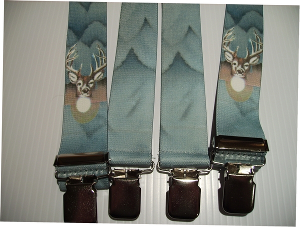 "WILDLIFE DEER 1 1/2""X48"" Suspenders with 4 strong 1""x 1"" Stainless Steel Grips and 2 Secure Stainless Steel Length Adjusters in the front.   Entirely Stretchable Hand Washable and Hang to Dry Cotton/Polyester Material.         UB220N48WLD1"