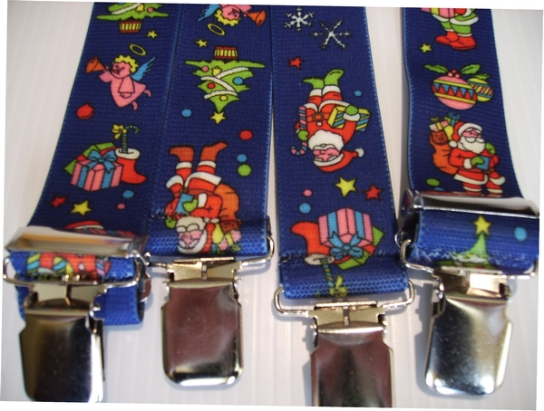 "SANTA ROYAL BLUE WTH RED AND WHITE 1 1/2""X48"" Suspenders with 4 strong 1""x 1"" Grips and 2 Length Adjusters in the front, all in NICKEL FINISH.   Entirely Stretchable Cotton/Polyester Material.         UB220N48SA#1"
