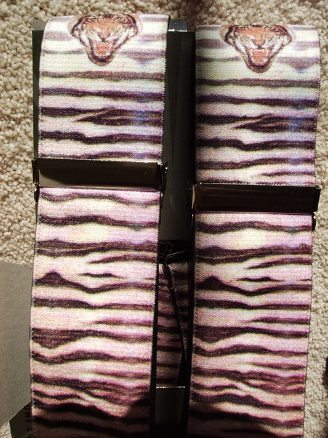 "WILDLIFE TIGER 1 1/2""X48""  Suspenders with 4 strong 1""x 1"" Grips and 2 Length Adjusters in the front, all in Stainless Steel FINISH.  Entirely Stretchable Hand Washable and Hang to Dry Cotton/Polyester Material.             UB220N48WLTG"