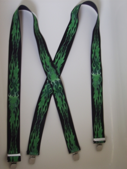 "GREEN FLAMES ON BLACK 2""X54""  Suspenders with 4 strong 1""X1"" Grips and 2 Length Adjusters in the front, all in NICKEL FINISH. UA220N54FLGN"