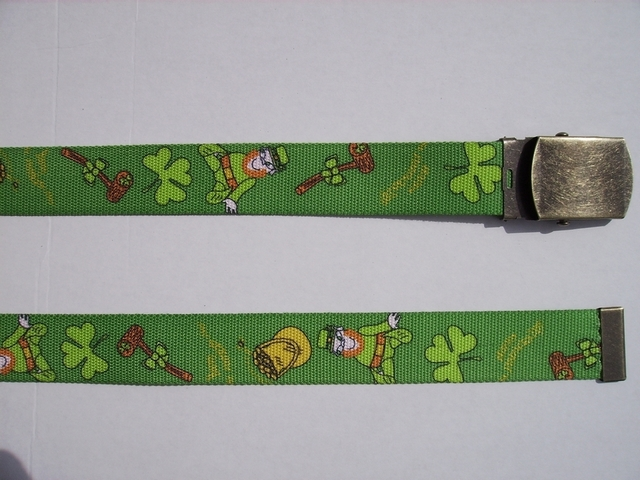 "LEPRECHAUN - High Quality U.S. Made Cotton/Polyester Non-Stretching Material with Solid Belt Buckle. These will fit  all size waists from 8"" up to 48""  by un-clamping Buckle and cutting off extra material on non-metal end. Then just re-clamp Material.     BELT-UA220N48SP#2"