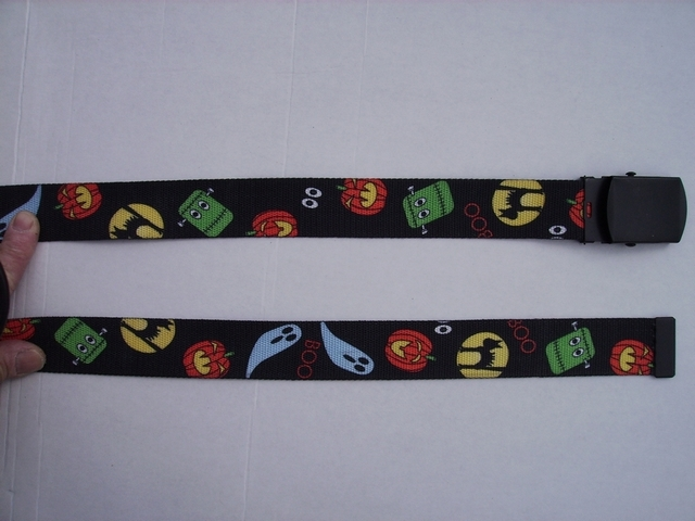 "HALLOWEEN -  High Quality U.S. Made Cotton/Polyester Non-Stretching Material with Solid Belt Buckle. These will fit  all size waists from 8"" up to 48""  by un-clamping Buckle and cutting off extra material on non-metal end. Then just re-clamp Material.      BELT-UB220N48HALL"