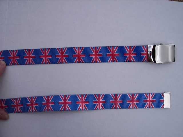 "UNITED KINGDOM -  High Quality U.S. Made Cotton/Polyester Non-Stretching Material with Solid Belt Buckle. These Belts Are Sold by Us Wholesale in Large Quantities, to Name Brand Stores and Thye Resell Them at Premium Prices. These will fit  it will fit All Size Waists from 8"" up to 48""  by Un-Clamping Buckle and Cutting Off Extra Material on Non-Metal End. Then Just Re-Clamp Material. .    BELT-UA220N48UK#1"