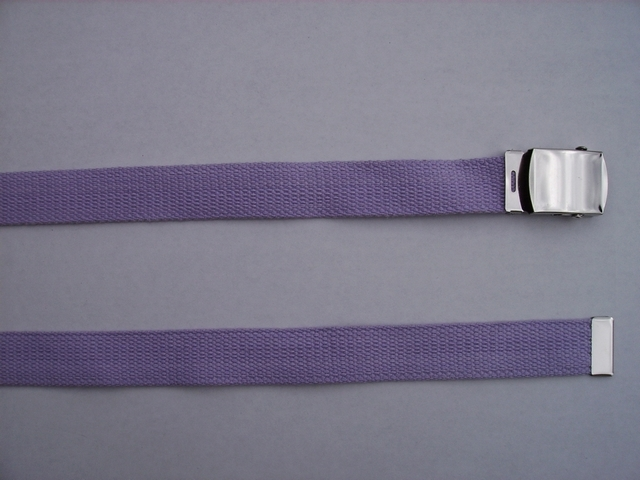 "MEDUM PURPLE COLOR -  High Quality U.S. Made Cotton/Polyester Non-Stretching Material with Solid Belt Buckle. These will fit  all size waists from 8"" up to 48""  by un-clamping Buckle and cutting off extra material on non-metal end. Then just re-clamp Material.   Then Just Re-Clamp Material.            BELT-UA220N49MPUR"
