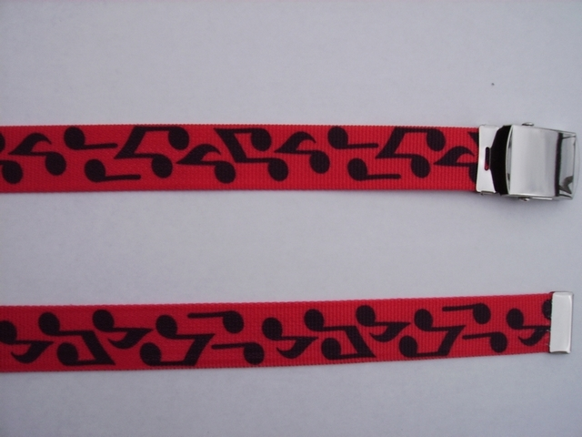 "BLACK MUSICAL NOTES ON RED - High Quality U.S. Made Cotton/Polyester Non-Stretching Material with Solid Belt Buckle. These Belts Are Sold by Us Wholesale in Large Quantities, to Name Brand Stores and They Resell Them at Premium Prices. These will fit  it will fit All Size Waists from 8"" up to 48""  by Un-Clamping Buckle and Cutting Off Extra Material on Non-Metal End. Then Just Re-Clamp Material.            BELT-UA220N48BNRE"