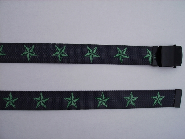 "GREEN STARS ON BLACK - High Quality U.S. Made Cotton/Polyester Non-Stretching Material with Solid Belt Buckle. These will fit  all size waists from 8"" up to 48""  by un-clamping Buckle and cutting off extra material on non-metal end. Then just re-clamp Material.     BELT-UA220N48NSKG"