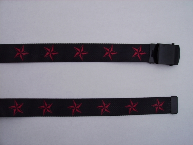 "RED STARS -  High Quality U.S. Made Cotton/Polyester Non-Stretching Material with Solid Belt Buckle. These will fit  all size waists from 8"" up to 48""  by un-clamping Buckle and cutting off extra material on non-metal end. Then just re-clamp Material.   BELT-UB220N48NSKR"