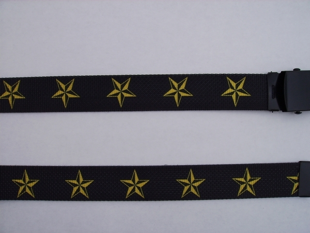 "GOLD STARS ON BLACK - High Quality U.S. Made Cotton/Polyester Non-Stretching Material with Solid Belt Buckle. These will fit  all size waists from 8"" up to 48""  by un-clamping Buckle and cutting off extra material on non-metal end. Then just re-clamp Material.  BELT-UA220N48NSKY"