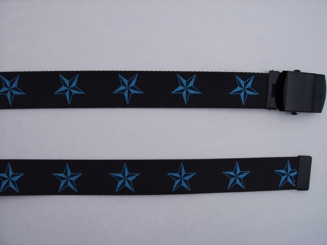 "BLUE STARS ON BLACK -  High Quality U.S. Made Cotton/Polyester Non-Stretching Material with Solid Belt Buckle. These will fit  all size waists from 8"" up to 48""  by un-clamping Buckle and cutting off extra material on non-metal end. Then just re-clamp Material.  BELT-UA220N48NSKO"