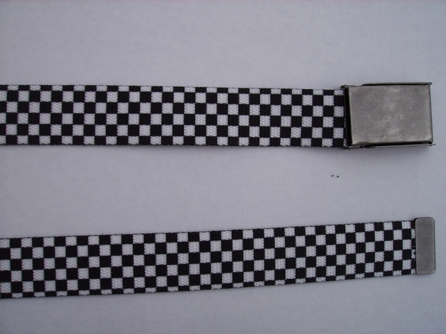"CHECKERS BLACK AND WHITE-  High Quality U.S. Made Cotton/Polyester Non-Stretching Material with Solid Belt Buckle. These will fit  all size waists from 8"" up to 48""  by un-clamping Buckle and cutting off extra material on non-metal end. Then just re-clamp Material.    BELT-UA220N48CHEC"