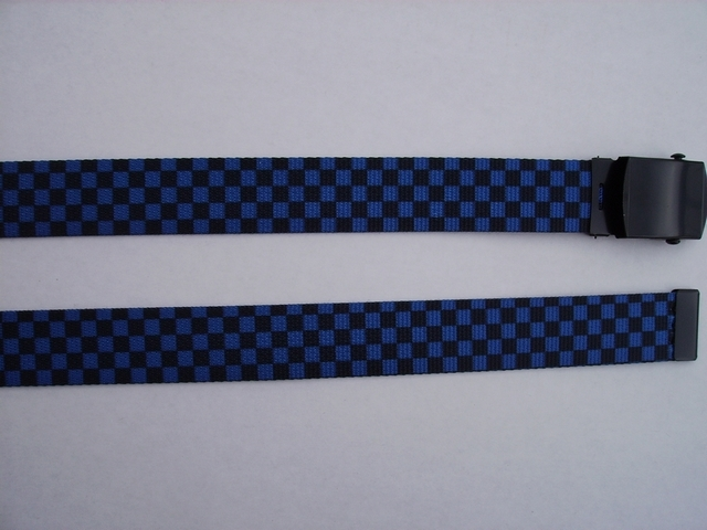 "CHECKERS BLACK AND BLUE  BELT -  High Quality U.S. Made Cotton/Polyester Non-Stretching Material with Solid Belt Buckle. These will fit  all size waists from 8"" up to 48""  by un-clamping Buckle and cutting off extra material on non-metal end. Then just re-clamp Material.      BELT- UA220N48CKBL"