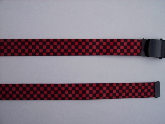 "CHECKERS BLACK AND RED -  High Quality U.S. Made Cotton/Polyester Non-Stretching Material with Solid Belt Buckle. These will fit  all size waists from 8"" up to 48""  by un-clamping Buckle and cutting off extra material on non-metal end. Then just re-clamp Material.    BELT-UA220N48CKRE"