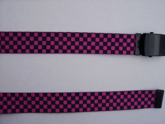 "CHECKERS BLACK AND HOT PINK - High Quality U.S. Made Cotton/Polyester Non-Stretching Material with Solid Belt Buckle. These will fit  all size waists from 8"" up to 48""  by un-clamping Buckle and cutting off extra material on non-metal end. Then just re-clamp Material.    BELT-UA220N48CKHP"