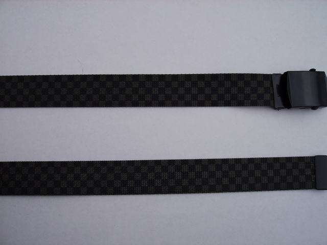 "CHECKERS OLIVE AND BLACK  -  High Quality U.S. Made Cotton/Polyester Non-Stretching Material with Solid Belt Buckle. These will fit  all size waists from 8"" up to 48""  by un-clamping Buckle and cutting off extra material on non-metal end. Then just re-clamp Material.      BELT-UA220N48CKOD"