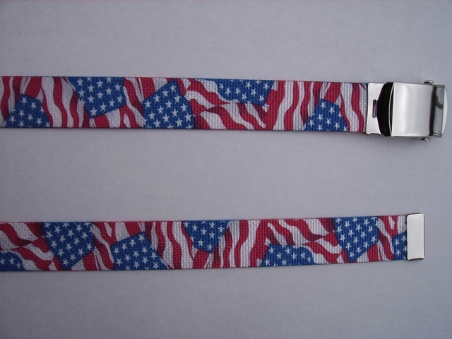 "WAVING FLAG  Red White and Blue -  High Quality U.S. Made Cotton/Polyester Non-Stretching Material with Solid Belt Buckle. These will fit  all size waists from 8"" up to 48""  by un-clamping Buckle and cutting off extra material on non-metal end. Then just re-clamp Material.    BELT-UA220N48US#1"