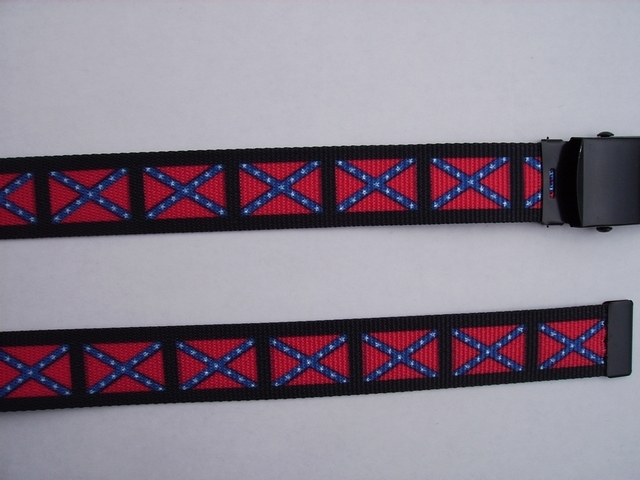 "CONFEDERATE FLAG - BELT- High Quality U.S. Made Cotton/Polyester Non-Stretching Material with Solid Belt Buckle. These will fit  all size waists from 8"" up to 48""  by un-clamping Buckle and cutting off extra material on non-metal end. Then just re-clamp Material.    BELT-UA220N48CONF"