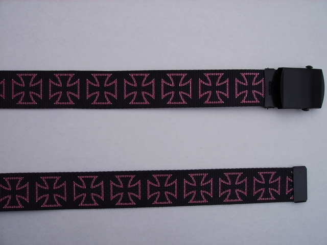 "MALTESE DESIGN PINK ON BLACK -  High Quality U.S. Made Cotton/Polyester Non-Stretching Material with Solid Belt Buckle. These will fit  all size waists from 8"" up to 48""  by un-clamping Buckle and cutting off extra material on non-metal end. Then just re-clamp Material.    BELT-UB220N48MALT"